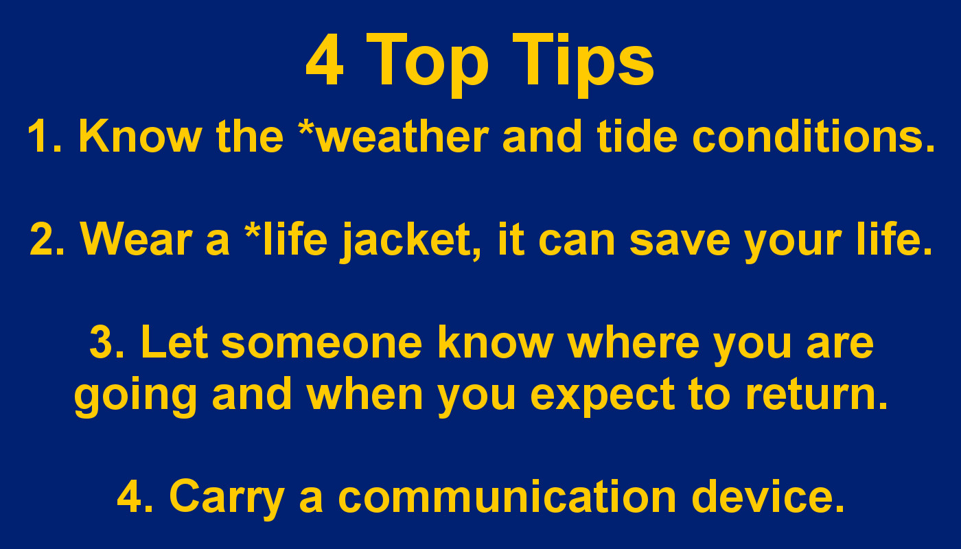 4 Tips to stay safe at sea. know the weather and tides, wear a life jacket, let someone know where you are going.